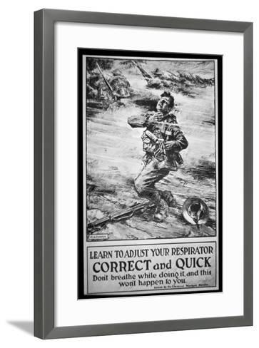 American Army Poster Warning of Gas Attack, 1918-W. G. Thayer-Framed Art Print