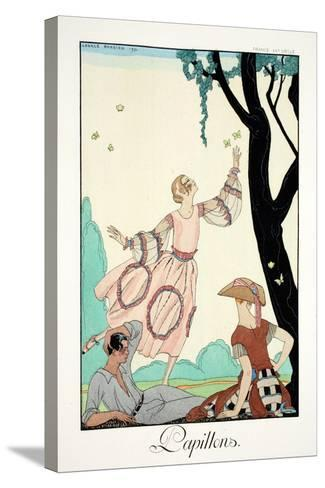 Butterflies, from 'Falbalas and Fanfreluches, Almanach des Modes Pr?sentes,-Georges Barbier-Stretched Canvas Print