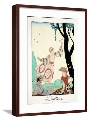 Butterflies, from 'Falbalas and Fanfreluches, Almanach des Modes Pr?sentes,-Georges Barbier-Framed Art Print
