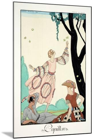 Butterflies, from 'Falbalas and Fanfreluches, Almanach des Modes Pr?sentes,-Georges Barbier-Mounted Giclee Print