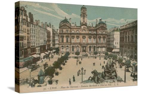 Lyon - Place des Terreaux - Bartholdi Fountain and the Town Hall. Postcard Sent in 1913-French Photographer-Stretched Canvas Print