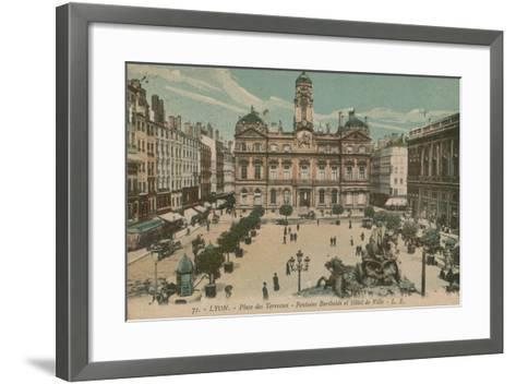 Lyon - Place des Terreaux - Bartholdi Fountain and the Town Hall. Postcard Sent in 1913-French Photographer-Framed Art Print