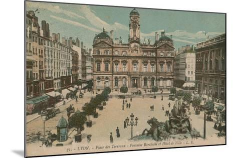 Lyon - Place des Terreaux - Bartholdi Fountain and the Town Hall. Postcard Sent in 1913-French Photographer-Mounted Giclee Print