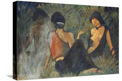 Gypsies by the Campfire (Recto); Zigeunerinnen Am Lagerfeuer (Recto), c.1927-Otto Muller or Mueller-Stretched Canvas Print