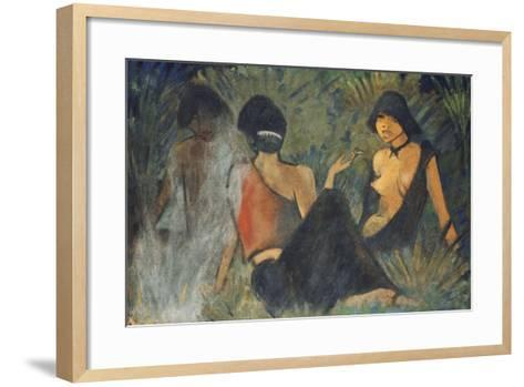 Gypsies by the Campfire (Recto); Zigeunerinnen Am Lagerfeuer (Recto), c.1927-Otto Muller or Mueller-Framed Art Print