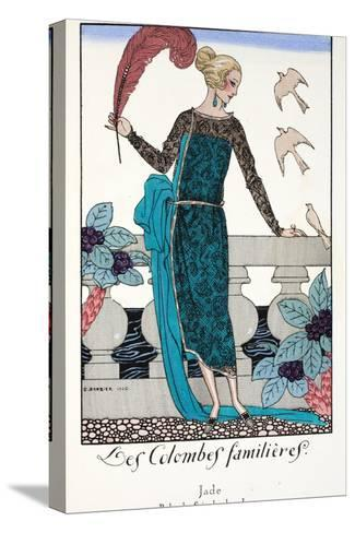 Les Colombes Familieres - Jade - Evening Gown de Chez Jenny 1920-Georges Barbier-Stretched Canvas Print