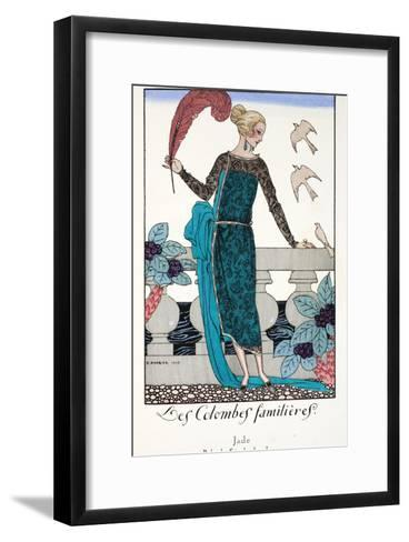 Les Colombes Familieres - Jade - Evening Gown de Chez Jenny 1920-Georges Barbier-Framed Art Print