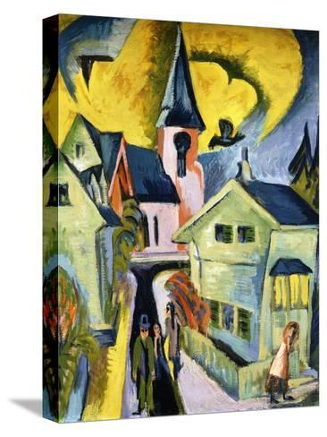 Konigstein with Red Church; Konigstein Mit Roter Kirche, 1916-Ernst Ludwig Kirchner-Stretched Canvas Print