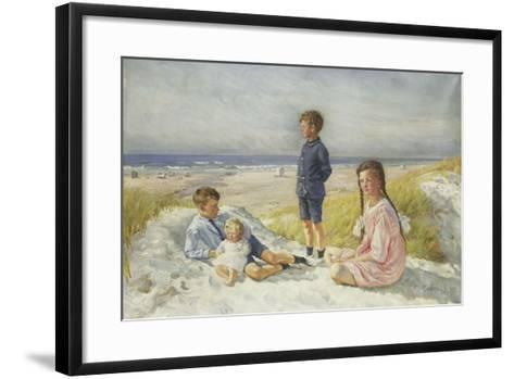 Erik, Else, Ove and Birthe Schultz on a Beach, 1919-Gabriel Oluf Jensen-Framed Art Print