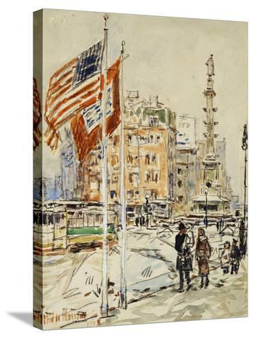 Flags, Columbus Circle, 1918-Childe Hassam-Stretched Canvas Print