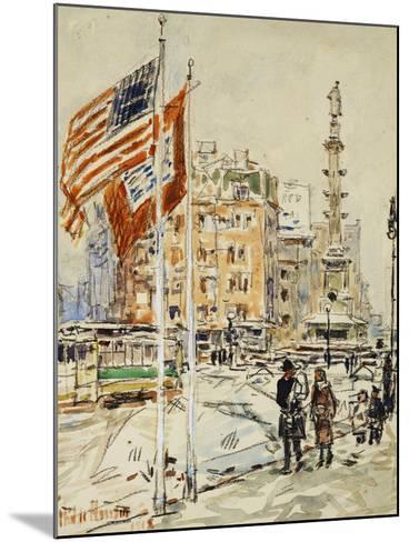 Flags, Columbus Circle, 1918-Childe Hassam-Mounted Giclee Print