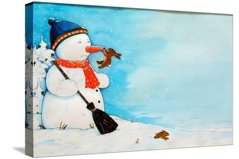 Snowman with Little Rabbit, 2012-Christian Kaempf-Stretched Canvas Print