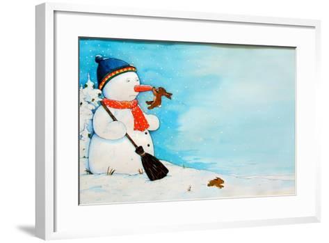 Snowman with Little Rabbit, 2012-Christian Kaempf-Framed Art Print