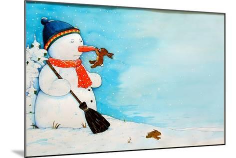 Snowman with Little Rabbit, 2012-Christian Kaempf-Mounted Giclee Print