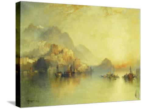 A Hillside Village at Sunset, 1918-Thomas Moran-Stretched Canvas Print