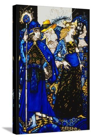 The Queens of Sheba, Meath and Connaught'. 'Queens', Nine Glass Panels Acided, Stained and?-Harry Clarke-Stretched Canvas Print