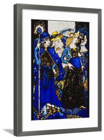 The Queens of Sheba, Meath and Connaught'. 'Queens', Nine Glass Panels Acided, Stained and?-Harry Clarke-Framed Art Print
