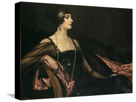 A Lady in Black: Portrait of Jean Ainsworth, Viscountess Massereene and Ferrard, 1917-Sir John Lavery-Stretched Canvas Print
