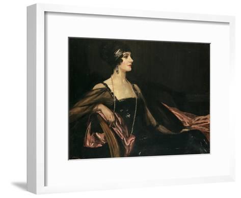 A Lady in Black: Portrait of Jean Ainsworth, Viscountess Massereene and Ferrard, 1917-Sir John Lavery-Framed Art Print