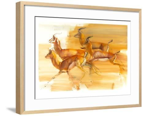 Running Gazelles, 2010-Mark Adlington-Framed Art Print