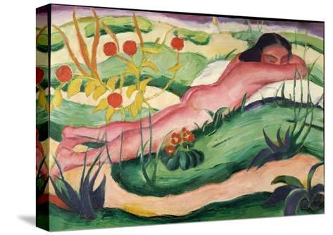 Nude Lying in the Flowers, 1910-Franz Marc-Stretched Canvas Print