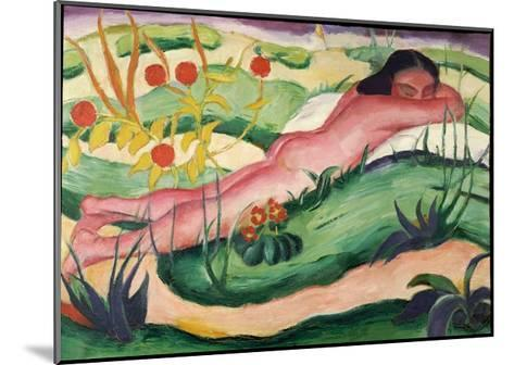 Nude Lying in the Flowers, 1910-Franz Marc-Mounted Giclee Print