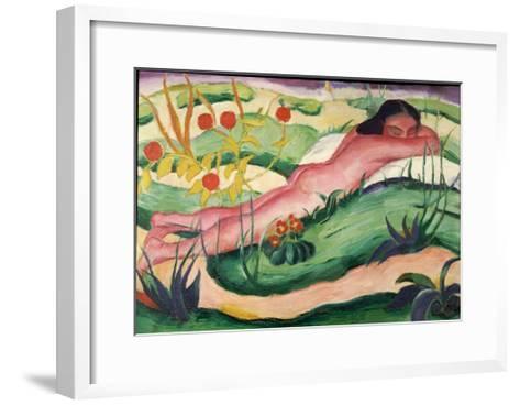 Nude Lying in the Flowers, 1910-Franz Marc-Framed Art Print
