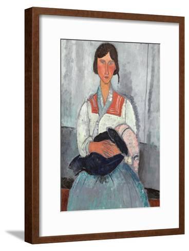 Gypsy Woman with Baby, 1919-Amedeo Modigliani-Framed Art Print