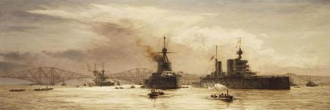 The First Battle Squadron Leaving the Forth for the Battle of Jutland, 1917-William Lionel Wyllie-Stretched Canvas Print