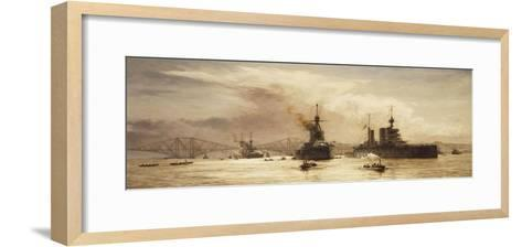 The First Battle Squadron Leaving the Forth for the Battle of Jutland, 1917-William Lionel Wyllie-Framed Art Print