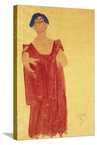Woman with Blue Hair; Frau Mit Blauem Haar, 1918-Egon Schiele-Stretched Canvas Print