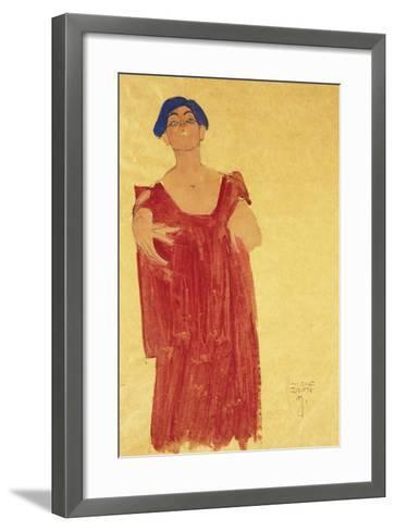 Woman with Blue Hair; Frau Mit Blauem Haar, 1918-Egon Schiele-Framed Art Print