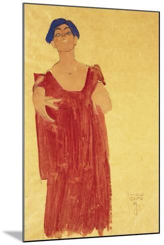 Woman with Blue Hair; Frau Mit Blauem Haar, 1918-Egon Schiele-Mounted Giclee Print