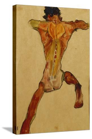 Male Nude Seen from Back; Mannlicher Ruckenakt, 1910-Egon Schiele-Stretched Canvas Print