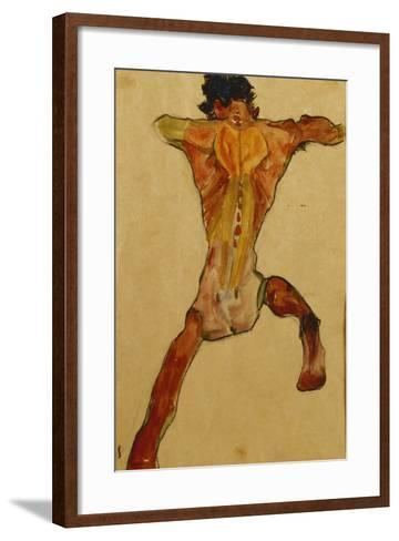 Male Nude Seen from Back; Mannlicher Ruckenakt, 1910-Egon Schiele-Framed Art Print
