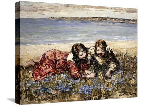 Gathering Flowers by the Seashore, 1919-Edward Atkinson Hornel-Stretched Canvas Print