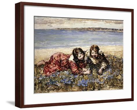 Gathering Flowers by the Seashore, 1919-Edward Atkinson Hornel-Framed Art Print