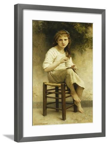 Idle Thoughts (Little Girl Sitting Embroidering); Vaines Pensees (Petite Fille Assise Brodant),…-William Adolphe Bouguereau-Framed Art Print