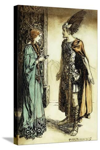 Siegfried Meets Gutrune: The Twilight of the Gods, 1911-Arthur Rackham-Stretched Canvas Print