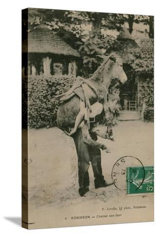 Postcard of a Man Carrying a Donkey, Sent in 1913-French Photographer-Stretched Canvas Print