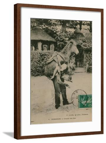 Postcard of a Man Carrying a Donkey, Sent in 1913-French Photographer-Framed Art Print