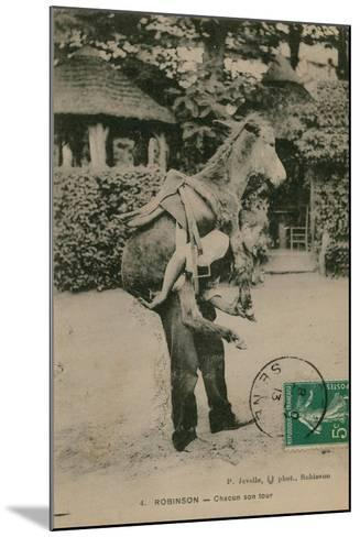Postcard of a Man Carrying a Donkey, Sent in 1913-French Photographer-Mounted Giclee Print