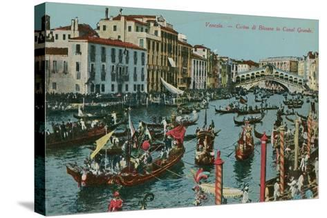 Grand Canal, Venice. Postcard Sent in 1913-Italian Photographer-Stretched Canvas Print