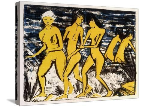Five Yellow Nudes on the Water; Funf Gelbe Akte Am Wasser (Karsch 156A), 1921-Otto Muller or Mueller-Stretched Canvas Print