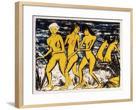 Five Yellow Nudes on the Water; Funf Gelbe Akte Am Wasser (Karsch 156A), 1921-Otto Muller or Mueller-Framed Art Print