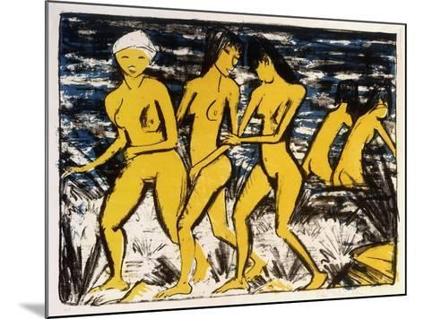 Five Yellow Nudes on the Water; Funf Gelbe Akte Am Wasser (Karsch 156A), 1921-Otto Muller or Mueller-Mounted Giclee Print