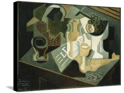 The Table in Front of the Building; La Table Devant Le Battiment, 1919-Juan Gris-Stretched Canvas Print