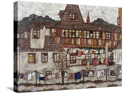 Houses with Clothes Drying, 1917-Egon Schiele-Stretched Canvas Print