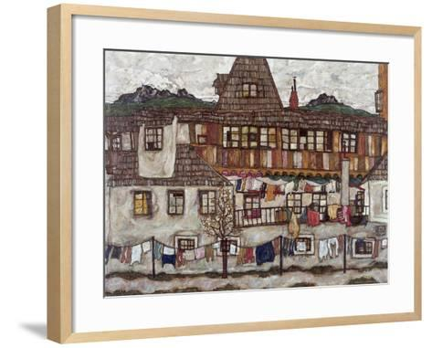 Houses with Clothes Drying, 1917-Egon Schiele-Framed Art Print