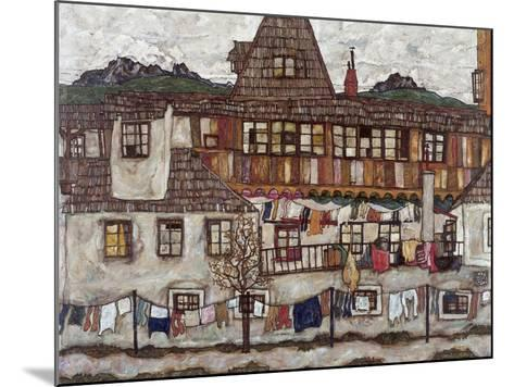 Houses with Clothes Drying, 1917-Egon Schiele-Mounted Giclee Print